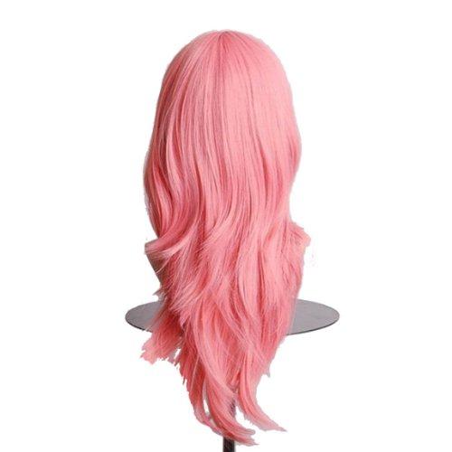 Dayiss® Perruque Femme Longs Ondulés Cosplay Costume Carnaval Imitation parfaite Cheveux synthétiques roses