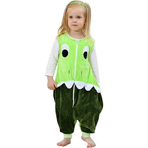ZEEUPAI - Sac de couchage en flanelle avec des pieds pour enfant fille Pyjama Unisexe Bébé (Vert - Dinosaure, L (5-6 ans))