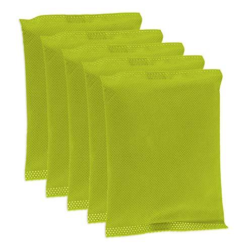 KochWunder Bunte Bambus Lufterfrischerkissen mit natürlicher Aktivkohle, 5er Set (gelb)