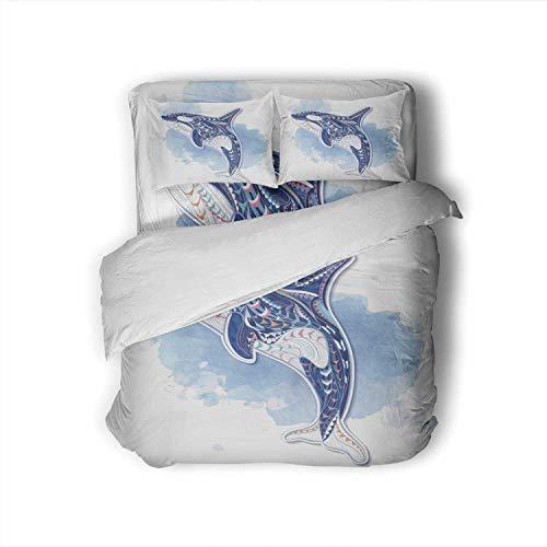 C COABALLA Patterned orcinus orca on/n Totem Tattoo Design.It May be Used for Design of a t-Shirt,Full Size Cotton Sateen Sheet Set - 4 Piece - Supersoft Bag Full