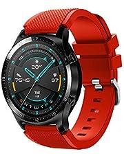 Fesjoy Correa de Reloj de Silicona de 22 mm Banda de Reloj Reemplazo de Pulsera con Superficie de Hebilla a Rayas Compatible con Huawei Watch GT 2 46 mm/Honor MagicWatch 2 46 mm
