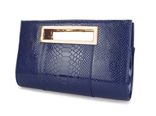 Hoxis Classic Crocodile Pattern Faux Patent Leather Cut it out Clutch with Chain Shoulder Strap Womens Handbag (Navy)