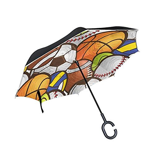 SunsetTrip - Paraguas invertido para balón de fútbol y baloncesto a prueba de viento, doble capa, plegable, paraguas de viaje, paraguas de viaje, mango anti-UV en forma de C para la lluvia del coche