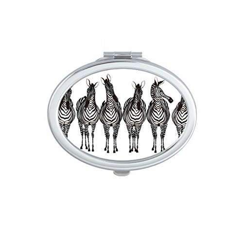 DIYthinker Verschillende Actie Zebra Dier Ovaal Compact Make-up Pocket Spiegel Draagbare Leuke Kleine Hand Spiegels Gift