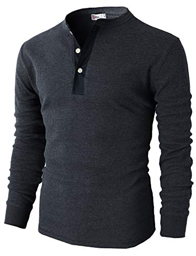H2H Mens Snug Fit Pointed Neck Henley Shirts of Waffle Cotton HEATHERNAVY US S/Asia M (CMTTL045)