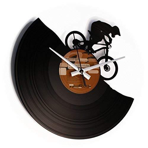 DISC´O´CLOCK MTB - Wanduhr aus Vinyl Schallplattenuhr mit Mountainbike/Downhill Motiv - Made IN Italy 24 St. MOGLICH!