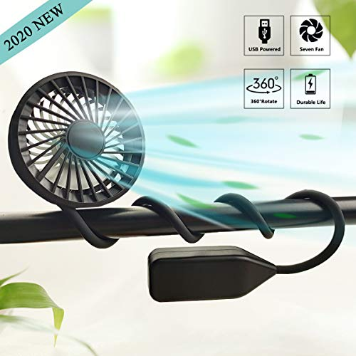 LiyuanQ Hand Free Neck Fan USB Rechargeable Portable Sport Fan with 3 Level Air Flow Mini Stroller Fan and Baby Fan with Flexible Stand, 360°Rotation Camping Fan for Stroller/Bike/Camping/Gym (Black)