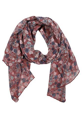 Zwillingsherz Seiden-Tuch im auffälligem Design - Hochwertiger Schal für Damen Mädchen - Halstuch - Umschlagstuch – Pashmina - Loop - weicher Schlauchschal für Frühjahr Sommer Herbst Winter - wein