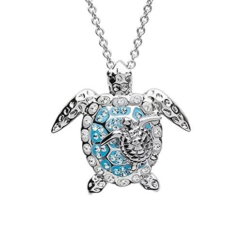 Mecia Collar con colgante de animal con diamantes de imitación Parent & Kid Seal Turtle Alloy Neck Pendant Jewelry Graduation Gift for Student