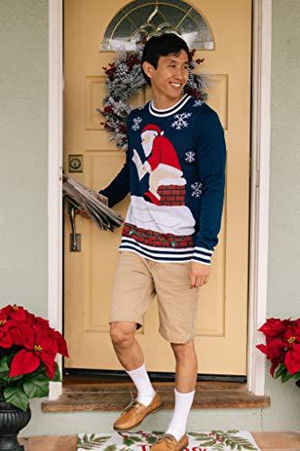 Tipsy Elves Men's Santa Pooping Ugly Christmas Sweater – Funny Santa Xmas Sweater: Medium Blue
