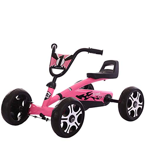 ZTYD Pedal del Circuito de Karts de Pedales Paseo en el Juguete - Juguetes para Montar para niños y niñas, Asiento Ajustable ergonómico y Sharp manipulación Durante 3-7 años de la,Rosado