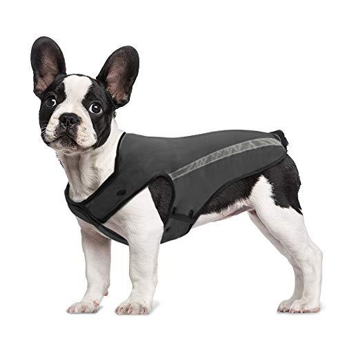 SlowTon Hunde Winterjacke, Hundemantel Einstellbare Hals und Brustgröße Haustier Weste mit Reflektierenden Streifen Wasserdicht Hundepullover Schneeanzug Warm halten (S, Grau)