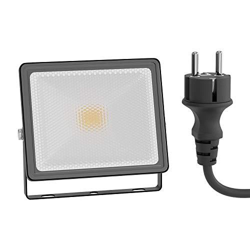 ledscom.de LED Außen-Strahler FLIN, Scheinwerfer, IP66 wasserfest, mit Stecker schwarz 10W 800lm warm-weiß