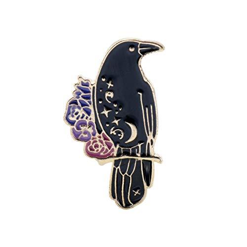 Broche unisex con diseño de cuervo negro esmaltado para camisa, bolsa de solapa, abrigo, insignias – D