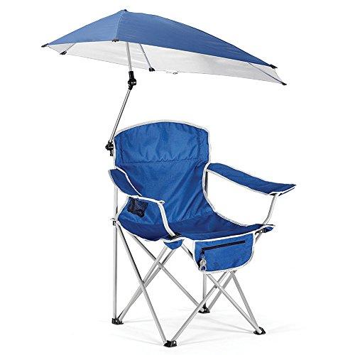 HM&DX Transportabel Klappstuhl außen Campingstühle klappstuhl Mit Sonnenschirm Sonnenschutz Strandstuhl Kompakt Camping wandern Strand Angeln Garten -blau