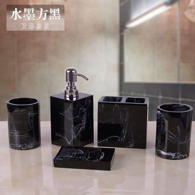 ZHQHYQHHX - Set di accessori da bagno in resina per quattro pezzi con dispenser portaspazzolino dispenser per sapone e accessori da bagno (colore: nero, dimensioni: libero)