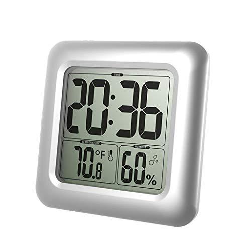 Hergon LCD Bad & Dusche Uhr, Wasserdicht Badezimmeruhr, An der Wand montiert, Saugnäpfe, Digitalanzeigen Zeit, Temperatur und innere Relative Feuchtigkeit