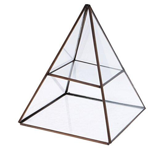 MonkeyJack 2 Tiers Clear Pyramid Glass Jewelry Trinket Box Display Holder Storage Organizer - Antique Bronze