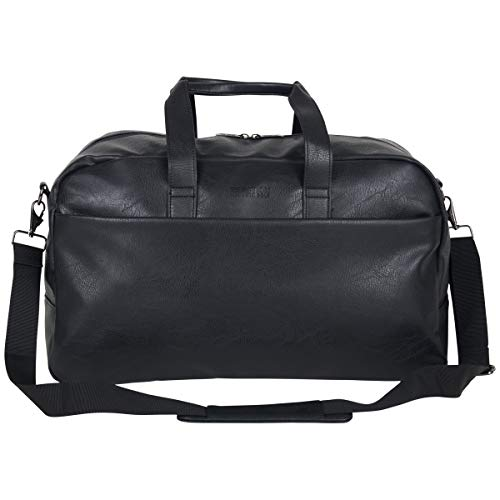 "Kenneth Cole Reaction Port Stanley 20"" Pebbled Vegan Leather Carry-On Duffel/Travel Duffle Bag, Black"