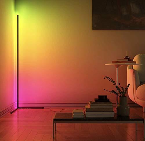 UFLIZOGH LED Stehlampe Dimmbar, 144CM 20W RGB Stehleuchte mit Fernbedienung für Wohnzimmer Schlafzimmer Farbwechsel Lichtsaeule Farbtemperaturen und Helligkeit Stufenlos (Schwarz)