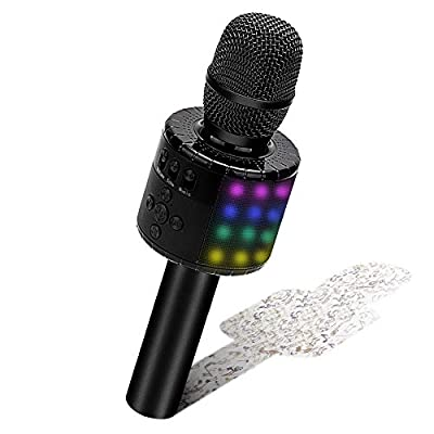BONAOK Karaoke Microphone Bluetooth, Wireless Mic Karaoke with Led lights, Kids Singing Recording Microphone,Portable Home Party KTV Player Microphone Machine,Compatible with Android & iOS (Black)