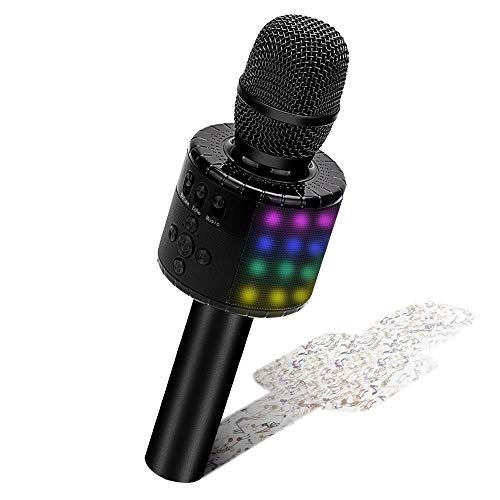 BONAOK Karaoke Microphone Bluetooth, Wireless Mic Karaoke with Led lights,...