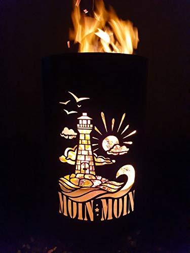 Tiko-Metalldesign Feuertonne, Feuerkorb, Feuerschale mit Motiv Leuchtturm/Moin Moin