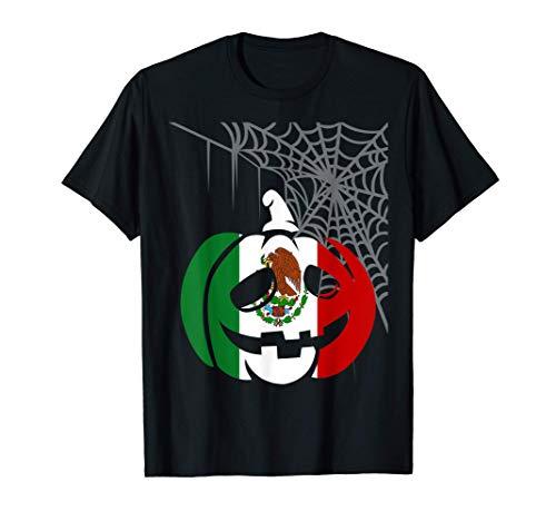 Disfraz Halloween Calabaza con Bandera de Mexico Camiseta