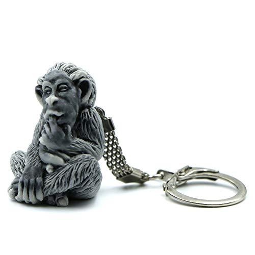Llavero de mono para hombre y mujer, diseño de cadena 3D, hecho de arena de mármol con resina, bonito accesorio de regalo para aniversario