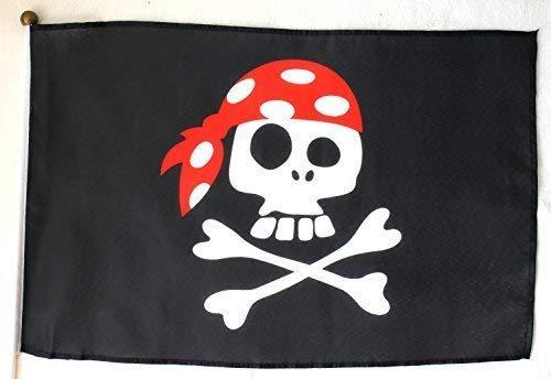 Unbekannt Piratenflagge 45x30cm am 60cm Plastik-Stab Pirat Kopftuch