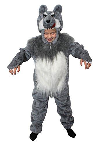 I LOVE FANCY DRESS LTD Kinder MÄRCHEN KOSTÜME VERKLEIDUNG+ROTKÄPPCHEN+Wolf=Fasching-Karneval-BUCHWOCHE-Wolf Onsie MIT Gesicht+Fell Bauch=ROTKÄPPCHEN+Plastik Korb=Wolf-MEDIUM