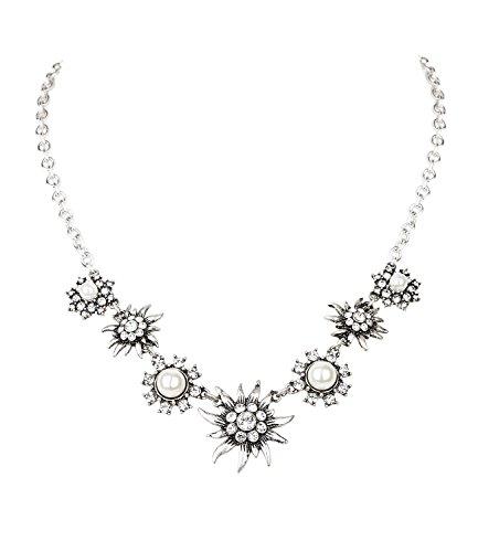 SIX Halskette mit Edelweiß-Anhängern, weißen Perlen und Strasssteinen, Halskette perfekt für JGA/Hochzeit/Oktoberfest, Verkleidung, Karneval (730-587)
