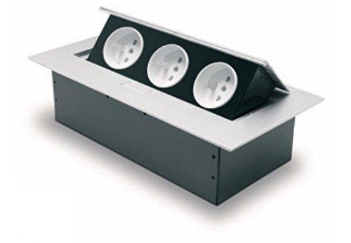 Stopcontact 3-voudig met aarding frans/belg systeem type E aluminium/metaal AE-PB03GU-53 GTV 7689