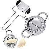 Apofly 2 St./Set Edelstahl Teigtaschenformer Ravioli Former mit Ausstecher Dumpling Maker Form mit...