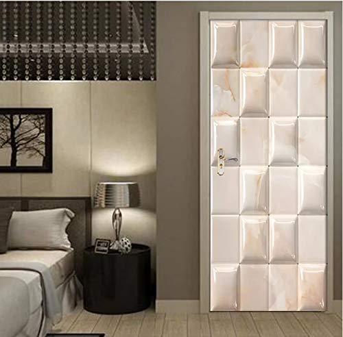 Mural Para Puerta Dormitorio De La Sala De Estar De La Puerta De Mármol Geométrica 3D Desmontable Autoadhesivo Papel Pintado Puertas 90 X 200 cm