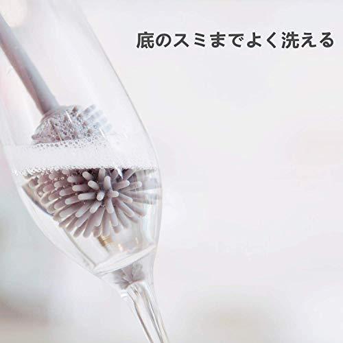 ボトルブラシUervoton哺乳瓶ブラシシリコン製長いハンドル抗菌キッチン水筒魔法瓶グラスカップボトルコップ哺乳瓶ボトル洗いグレー