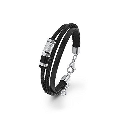 s.Oliver Herren-Armband mehrreihig lackiert Edelstahl Leder 22 cm - 566704