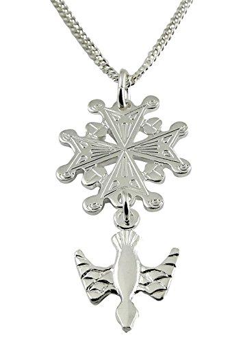 Niceandnoble Pendentif en forme de croix huguenote avec chaîne gourmette de 45 cm en argent sterling 925 véritable
