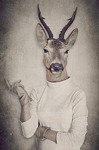 Xpboao Pintar por números - Los Animales Visten Ropa Humana - Pintura de Arte Moderno - Kit de Pintura de Bricolaje Adecuado para Adultos y Principiantes - 40x50cm - Sin Marco