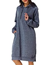 GAGA Women Long Sleeve Hoodie Tunic Dress Solid Pullover Loose Hoodie Sweatshirt