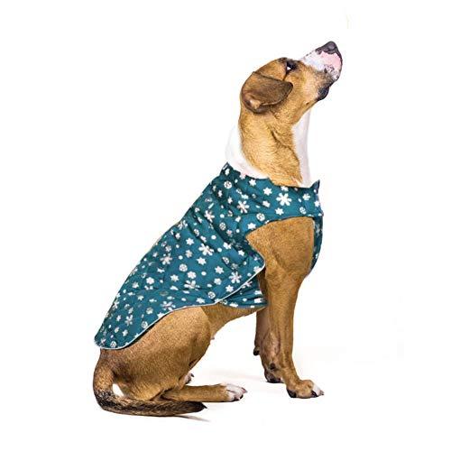 Weihnachten Schneeflocke Kaltwetter Hundemantel für Wende-Hund Warme Fleecejacke wasserdichte Winddichte Hundeweste mit pelzigem Halsband für kleine mittelgroße große Hunde (M)