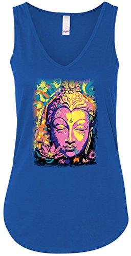Yoga Clothing For You Psychedelic Buddha Flowy V-Neck Tank Top, XL True Royal