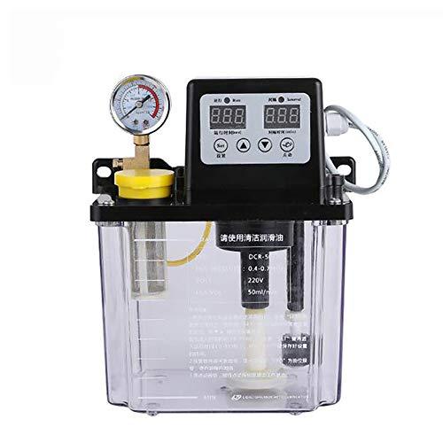 Isunking Bomba de Lubricación Automática de 220V, Bomba de Aceite Electromagnética, Engrasador de Doble Pantalla Digital (2L, con Manómetro)