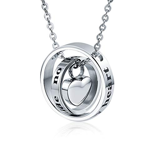 AueDsa Memorial Edelstahl Urne Kette Doppelte Ringe mit Herz Asche Anhänger Kette Memorial Halskette Silber