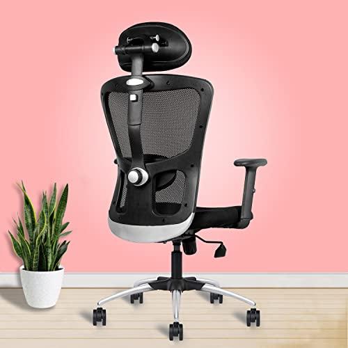 beAAtho *Amaze* Ergonomically Adjustable Executive High Back Mesh Home & Office Revolving Chair. (Multi Locking TILT Mechanism, Adjustable Head & ARM Rest, Metal Base) (Black)