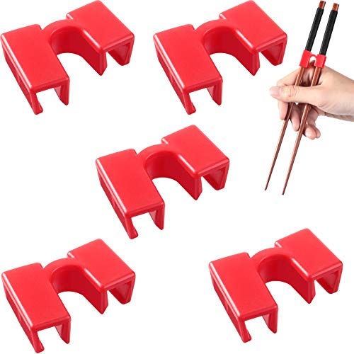 5 Pieces Reusable Chopstick Helpers Training Chopsticks for Many Age, Beginner, Trainers or Learner, Red