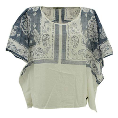 Please, , Damen Oversize Top Shirt Bluse Überwurf, dünners Baumwollgewebe, Weiss blau, M [22144]