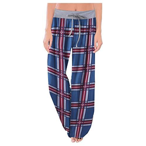 SHOBDW Pantalones Mujer Verano 2020 Yoga Pantalones Chandal Mujer Anchos Pantalones Deporte Mujer Impresión Floral Pantalones de Dormir Pantalones Caseros Tallas Grandes(Azul,XXL)