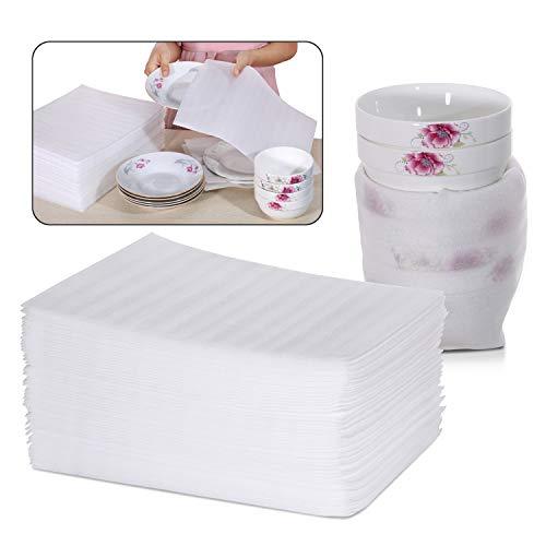 KWOKWEI Schaumstoffverpackung, 50 Stücke EPE Schaumfolie Verpackung Polstermaterial, 1mm Dicke Kissenschaumbeutel 30.5x30.5cm Schaumstoffumhüllung für Geschirr Gläser Porzellan