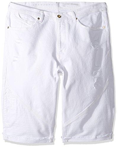 Sean John Men's Big and Tall Five Pocket Moto Short, Blanco Wash, 50B